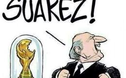 """Ảnh chế: Suarez """"cắn trộm"""" cả cúp vàng World Cup"""
