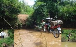 Đu cáp bay qua sông mùa lũ