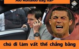 """Ảnh chế: Ronaldo """"khóc thét"""" vì không biết trốn thuế như Messi"""