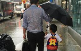 Lộ diện ông bố ướt đẫm lưng vì che mưa cho con
