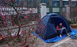 Đốt lửa, dựng lều trên phố Hà Nội kiếm tiền Tết