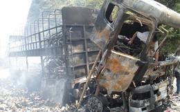 Hòa Bình: Xe tải chở 2 tấn hàng tạp hóa cháy rụi trên đèo Thung Khe