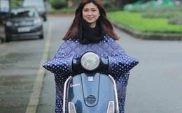 """Hà Nội: Xôn xao mốt """"chiếc chăn gió ấm"""" dành cho quý cô đi xe máy!"""