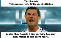 Ronaldo mất tích, Real Madrid cuống cuồng đi tìm