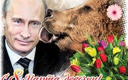 """Tạp chí tung ảnh """"gấu Nga"""" liếm mặt ông Putin mừng ngày 8/3"""