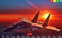 Chiến đấu cơ Sukhoi đẹp mạnh mẽ trên ảnh lịch 2015