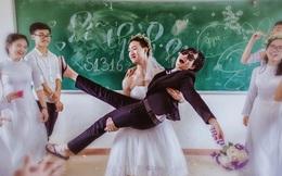 """Học sinh lớp 12 Lê Quý Đôn """"kết hôn"""" ngay tại lớp học"""