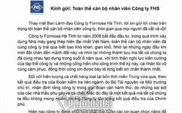 Chủ tịch Formosa gửi thư cho toàn bộ nhân viên