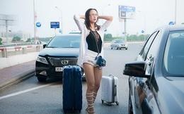 Vũ Ngọc Anh mặc gợi cảm gây chú ý tại sân bay