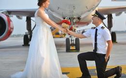 Bộ ảnh cưới độc đáo của cặp đôi phi công người Việt