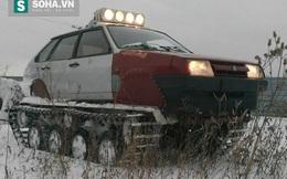 """Độc đáo """"siêu tăng"""" tự chế từ phế liệu của Nga"""