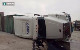 Xe Container lật đè nát thi thể người đàn ông trên quốc lộ
