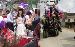 """Đám cưới rước dâu bằng xe nâng và xe kéo """"cà tàng"""" ở Nghệ An"""
