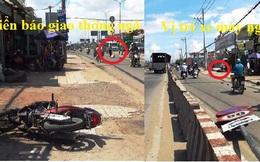Xe tải kéo cột biển báo quật người đi xe máy nguy kịch