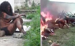 Nghi là thủ phạm giết người, một phụ nữ bị đám đông đánh đập, ném vào đống lửa cháy ngùn ngụt