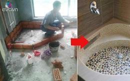 Anh chồng nhặt đá cuội về xây bồn tắm cho vợ chỉ hết 1.7 triệu, ai cũng trầm trồ