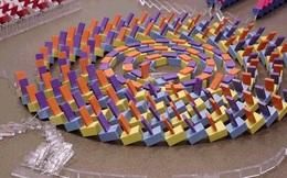 Màn xếp domino đỉnh cao khiến người xem nhức não vì không biết domino đang ngã về hướng nào