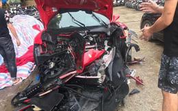 Siêu xe Ferrari của ca sĩ Tuấn Hưng gặp nạn, đầu xe vỡ nát trên cao tốc Nội Bài - Lào Cai