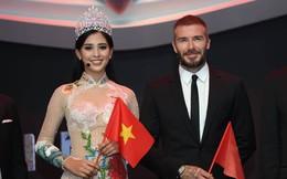 Hoa hậu Trần Tiểu Vy rạng rỡ sánh đôi bên David Beckham trên sân khấu ra mắt xe hơi VINFAST