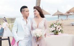 Đám cưới chị ruột Ngọc Trinh: Cô dâu diện đầm nóng bỏng, cười hạnh phúc bên chú rể kém tuổi