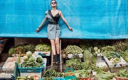 Phạm Quỳnh Anh tạo dáng sexy giữa chợ rau ở Hà Nội