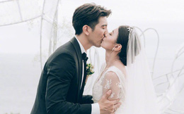 """Đám cưới kín đáo của """"Triệu Mẫn"""" Giả Tịnh Văn: Cô dâu hôn đắm đuối chú rể kém 9 tuổi bên 3 cô con gái"""