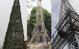 Ngắm cây thông Noel làm từ hàng vạn cây hành và tháp Eiffel bằng tre độc đáo xứ Nghệ