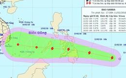 Bão Sanba giật cấp 11-12 đang tiến nhanh theo hướng vào Biển Đông