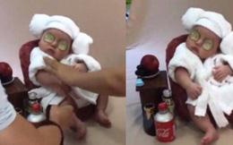 Em bé sơ sinh chụp ảnh phong cách 'spa hoàng gia' đã giật giải nhóc tì ngầu nhất MXH hôm nay