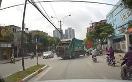 Hà Nội: Va chạm với xe rác đang quay đầu, người đàn ông thoát chết trong gang tấc