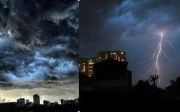 Hình ảnh bầu trời Hà Nội trước cơn mưa dông chiều qua khiến tất cả phải thốt lên đầu cảm xúc