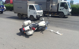 Truy đuổi hơn 30km tài xế xe tải tông xe cảnh sát rồi bỏ chạy