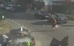 Video: Ô tô phát nổ ngay cạnh, người phụ nữ may mắn thoát nạn