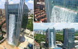 Chiêm ngưỡng thác nước khổng lồ đổ từ tòa nhà chọc trời xuống đất giữa lòng thành phố Trung Quốc
