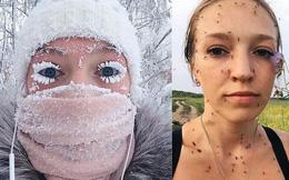 Sau bức ảnh lông mi đóng băng nổi tiếng, cô gái Nga tiếp tục chia sẻ bức ảnh selfie mùa hè đáng sợ không kém