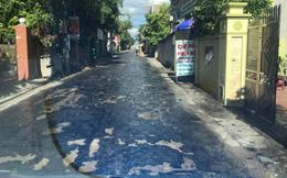 Mặt đường nhựa chảy loang lổ ở Hưng Yên: Do buổi trưa nắng nóng, nhiệt độ quá cao