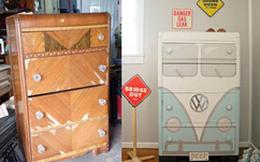"""Thấy chiếc tủ gỗ xấu xí ở chợ đồ cũ, người mẹ rinh ngay về nhà và biến nó thành """"thiên nga"""", ai nhìn vào cũng thích ngay"""