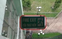 """Góc hoang mang: Cửa sổ có gắn chữ """"cửa thoát hiểm"""" nhưng thoát ra kiểu gì thì không ai dám thử"""