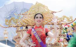 Phan Thị Mơ mặc trang phục nặng 15 kg dự thi nhan sắc quốc tế