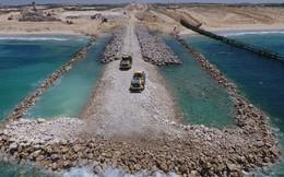 Hình ảnh đầu tiên về bức tường thép kiên cố trên biển bao vây Dải Gaza