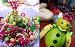 """Mâm cỗ Trung thu """"đáng yêu xen lẫn đáng sợ"""" với những con vật được cắt tỉa từ hoa quả khiến cộng đồng mạng bật cười"""