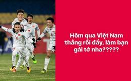 """""""Lợi dụng"""" U23 Việt Nam chiến thắng, nam sinh tỏ tình và đã thành công"""