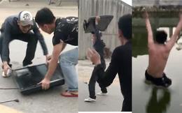 Clip: Nam thanh niên đập tivi, nhảy xuống hồ ăn mừng chiến thắng của U23 Việt Nam