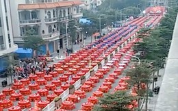 Đám cưới siêu khổng lồ tại Trung Quốc: Hàng nghìn bàn tiệc nhuộm đỏ một con phố dài cả cây số!