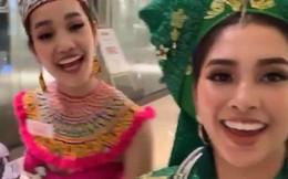 """Hoa hậu Tiểu Vy múa điệu Chầu Văn """"Cô đôi thượng ngàn"""" trong phần thi Dance Of The World"""