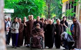 Thiền sư Thích Nhất Hạnh thiền hành cùng phật tử sau nhiều ngày tịnh dưỡng trong phòng