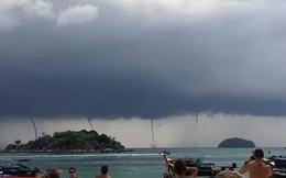 Cận cảnh 4 vòi rồng xuất hiện cùng lúc trên biển Thái Lan - hiện tượng vô cùng hiếm gặp