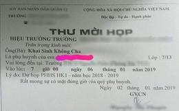 """Phẫn nộ với thư mời họp phụ huynh ghi """"khai sinh không cha"""" ở TP.HCM"""