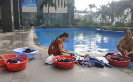 Thiếu nước sông Đà, dân chung cư Hà Nội ra bể bơi giặt giũ