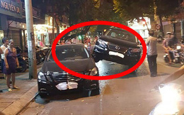 """Xe Lexus """"gác"""" lên thân Mercedes - hình ảnh vụ tai nạn gây xôn xao trên phố Hà Nội"""